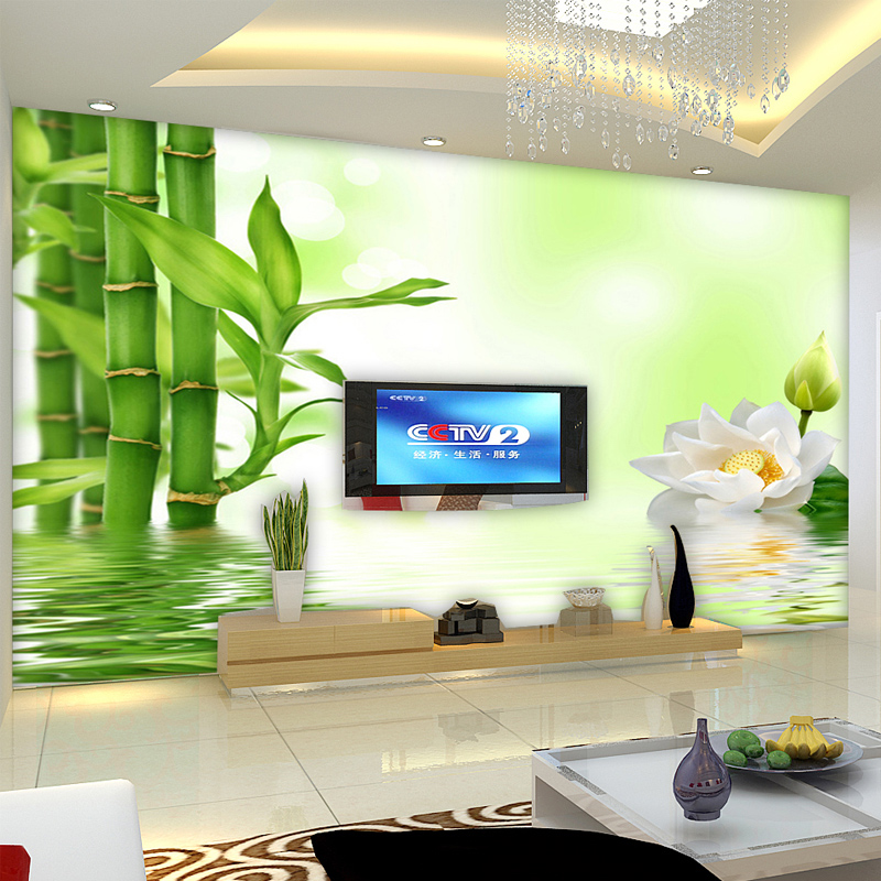 Cheaper Wholesale Flowers Art Wall Stickers Large Mural Wallpaper Room Chinese Bamboo 3d Tv Backdrop Wall Sitting Room Bedroom