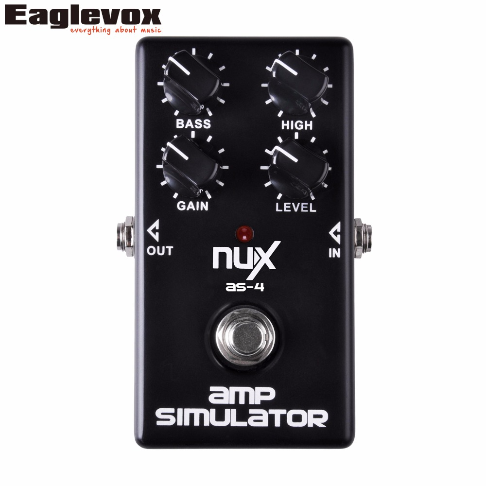 NUX AS-4 Amp Simulator Guitar Effect Pedal Extra Amount of Gain Boosts High Frequencies True Bypass AS4 nux amp force guitar effect pedal stomp boxes dsp modeling amp cabinet simulator 9 user presets true bypass
