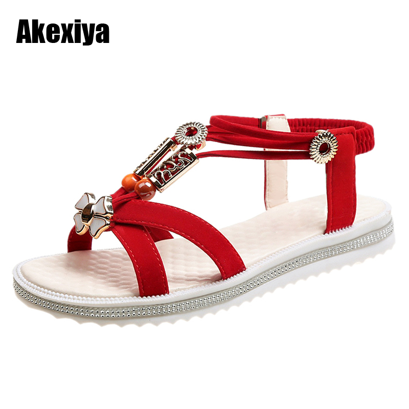 36-40 Plus Size Shoes Woman Sandals Fashion Bohemian Sleeves Flat Sandals Summer Ladies Shoes Black Beige Red M610 zapatos mujer black red summer sweet bowtie flat sandals slip toe beach sandals butterfly knot flat sandals shoes plus size 44