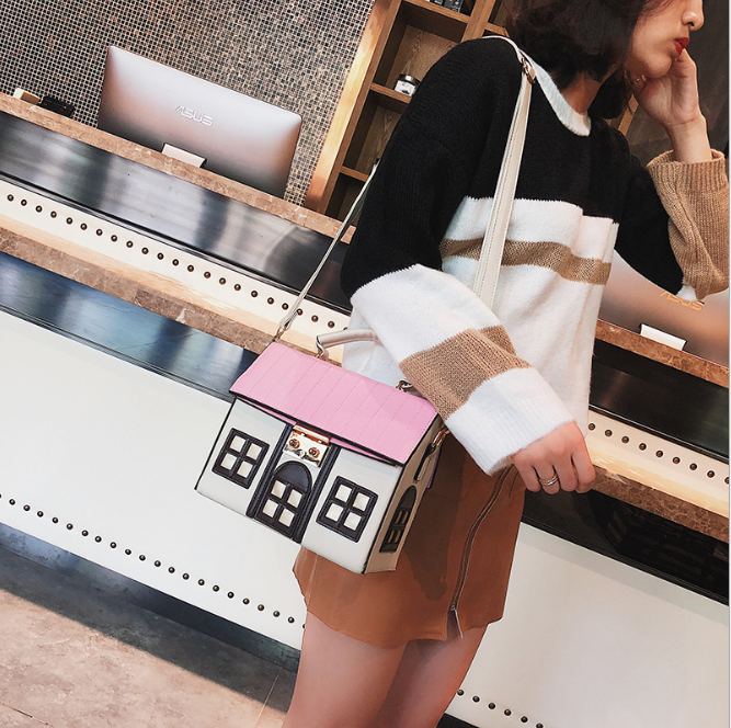 Image 3 - Funny Cute Cartoon House Design Pu Leather Handbag Women's Personality Handbag Ladies Shoulder Crossbody Messenger Bag  New-in Top-Handle Bags from Luggage & Bags