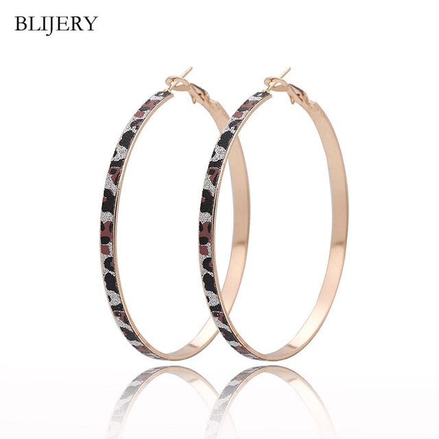 f0914ba97527b US $1.09 45% OFF|Aliexpress.com : Buy BLIJERY Elegant Fashion Simple  Leopard Print Hoop Earrings For Women Silver Gold Color Big Round Circle  Earrings ...