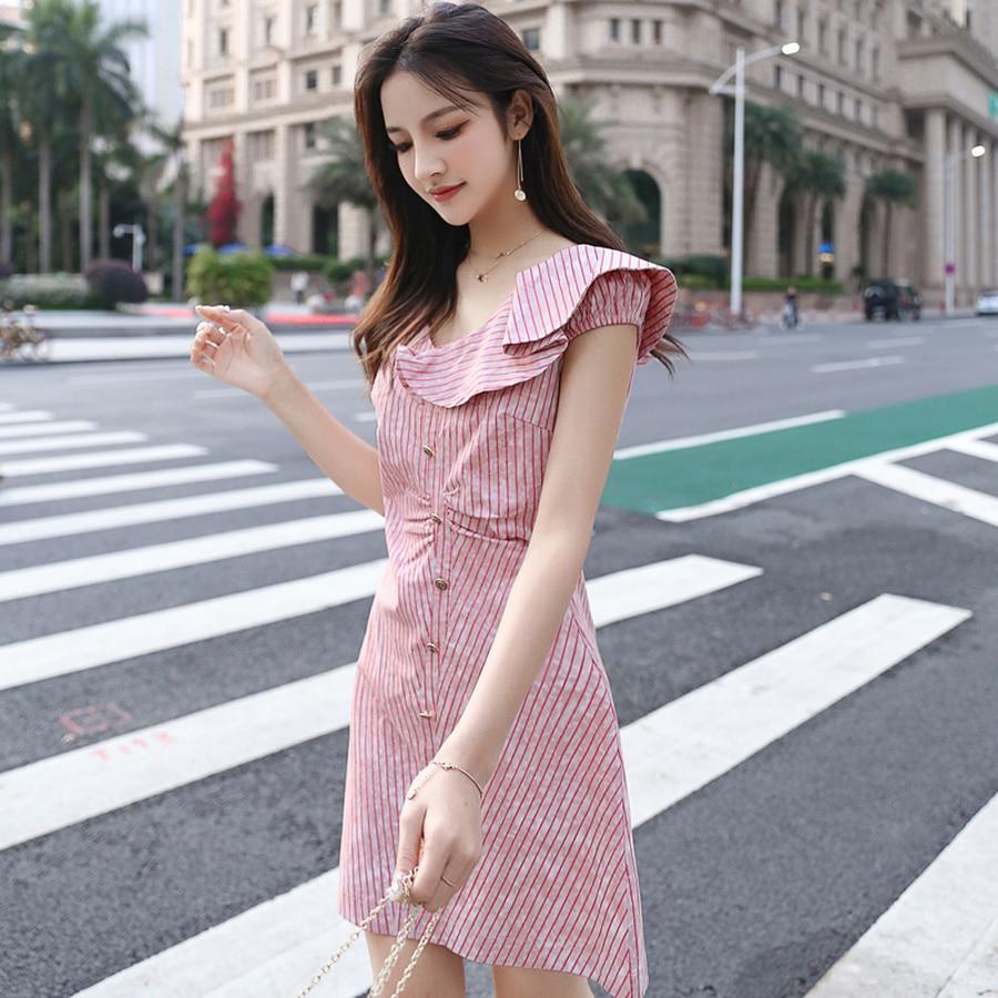 Summer Vintage Sweet Striped Boho Sundress 2019 Korean Plus Size Pink Beach Sexy Mini Dress Elegant Bodycon Women Party Vestidos in Dresses from Women 39 s Clothing
