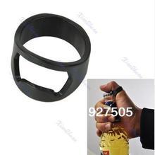 лучшая цена Free shipping New Stainless Steel Finger Ring Bottle Opener Beer Bar Tool Black