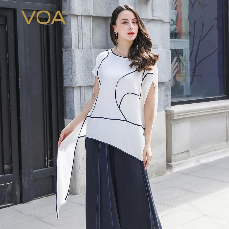 VOA 100% Silk T Shirt Women White Large Size Tee Casual Ladies Tops Summer Short Sleeve Pullover Harajuku Oversize T-shirt B921