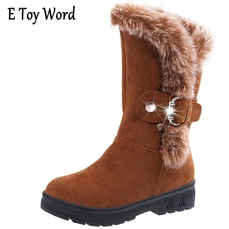 E TOY WORD Autumn and winter new wool and snow boots for the female and the round head of the rabbit hair boots 2018 noble belt buckle in the middle of the snow boots