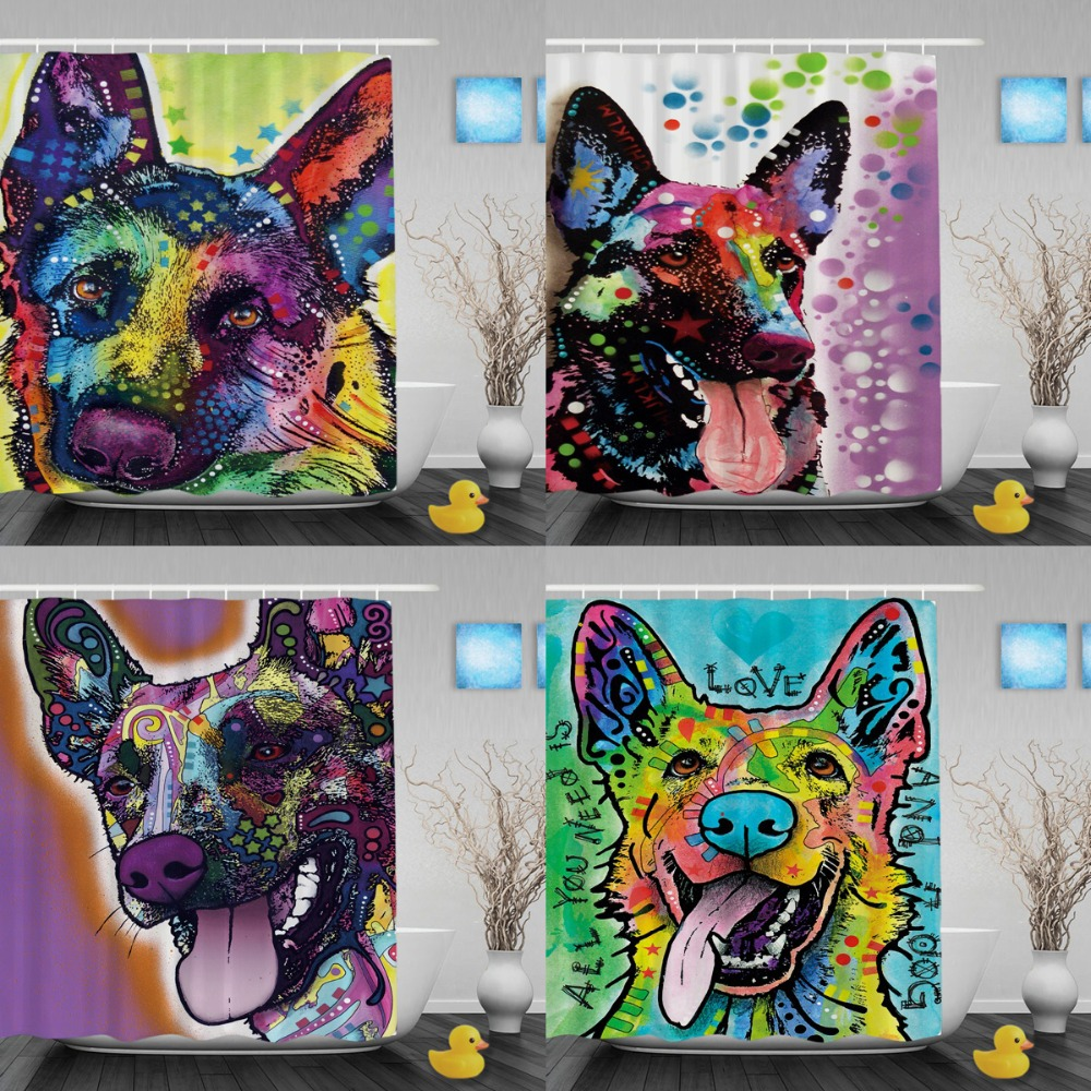 Cute German Shepherd Shower Curtains Art Dog Custom Animal Bathroom Curtains Waterprrof Fabric Shower Curtain Liner For Bathroom