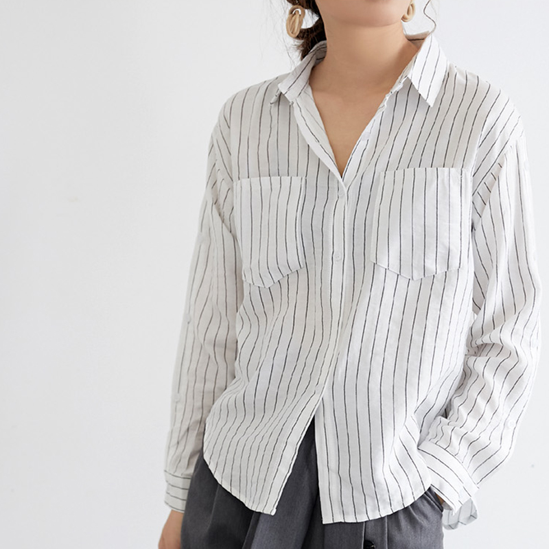 2019 Spring Pockets Striped Women   Blouses   Tops Full Sleeve V-neck   Blouse     Shirt   Female Casual Loose   Shirts   blusas mujer de moda