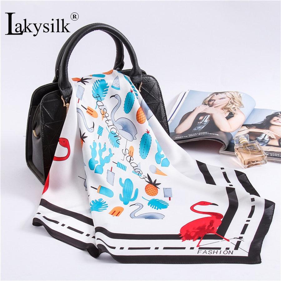 [Lakysilk]Fashion 2018 Women Scarf Foulard Flamingo Print Bandanna Hijab Scarf Silk Satin Bag Scarves Shawls Large Handkerchief
