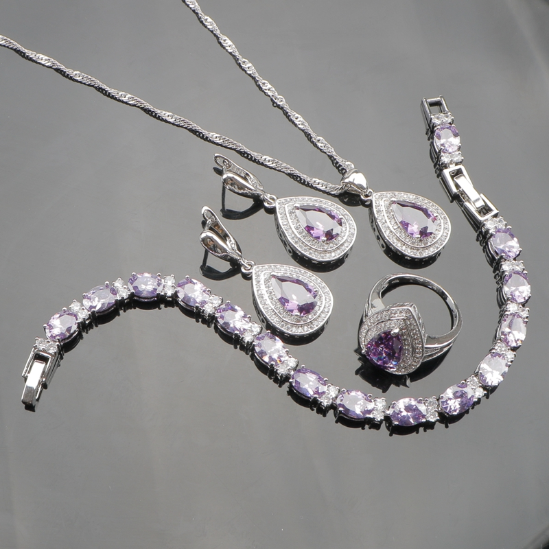 Purple Cubic Zirconia 925 Sterling Silver Jewelry Sets For Women Earrings/Pendant/Necklace/Rings/Bracelet Free Box