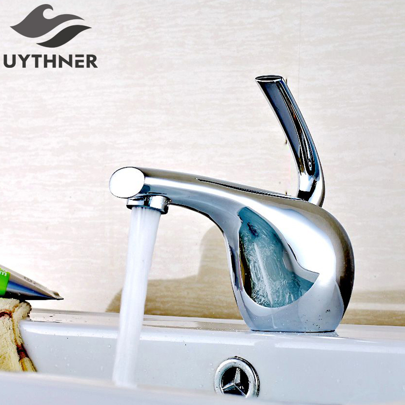 uYTHNER Deck Mount Waterfall Spout Chrome Brass Bathroom Faucet Single Handle Hole Sink Mixer Tap ceramic single handle bathroom vanity sink mixer tap chrome finished