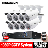8CH CCTV System 1080P HDMI AHD CCTV DVR 8PCS 2 0MP 3000TVL IR White Dome Camera