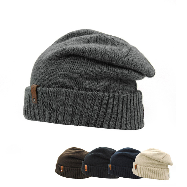 New Korean winter men's knitted hat Yang crown monochrome acrylic knitted cap small standard pure wool hat cap set HMZ8195