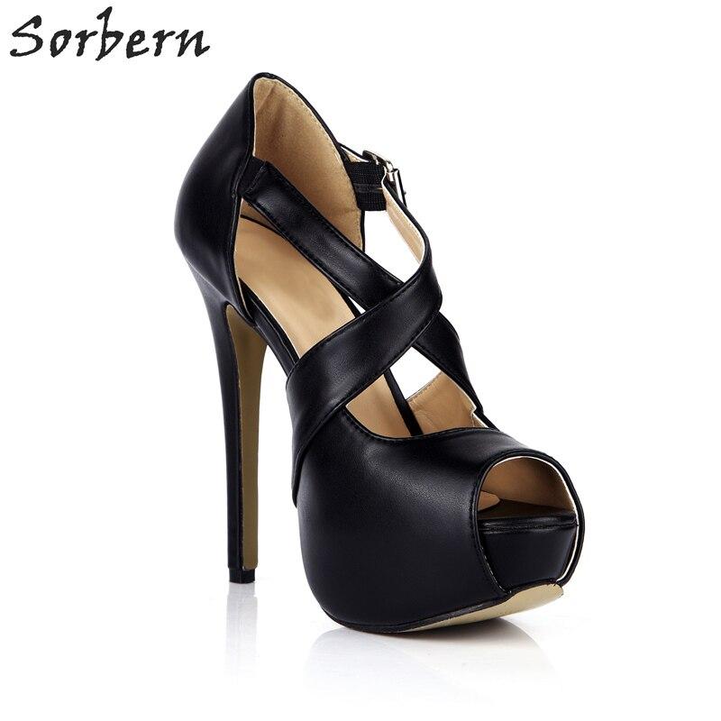 forme Sorbern Talon Celebrity Plate Peep Talons Chaussures Boucles Femmes Dames Hauts Haute Pompes Toe Parti Sangles Color custom Noir Croisées Yx78qpnwYr