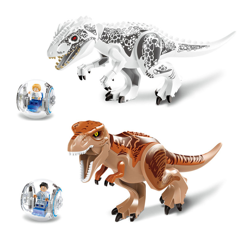 2 Pcs Dinosaur Jurassic World Dinosaur Bricks Marvel Building Blocks Toys Brick Figures Compatible with Legoe Blocks Dinosaurs
