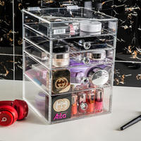 Clear Acrylic Space Saving Stylish Cosmetics Makeup and Jewelry Storage Case Display 4 Large Drawers and 1 Holder Box