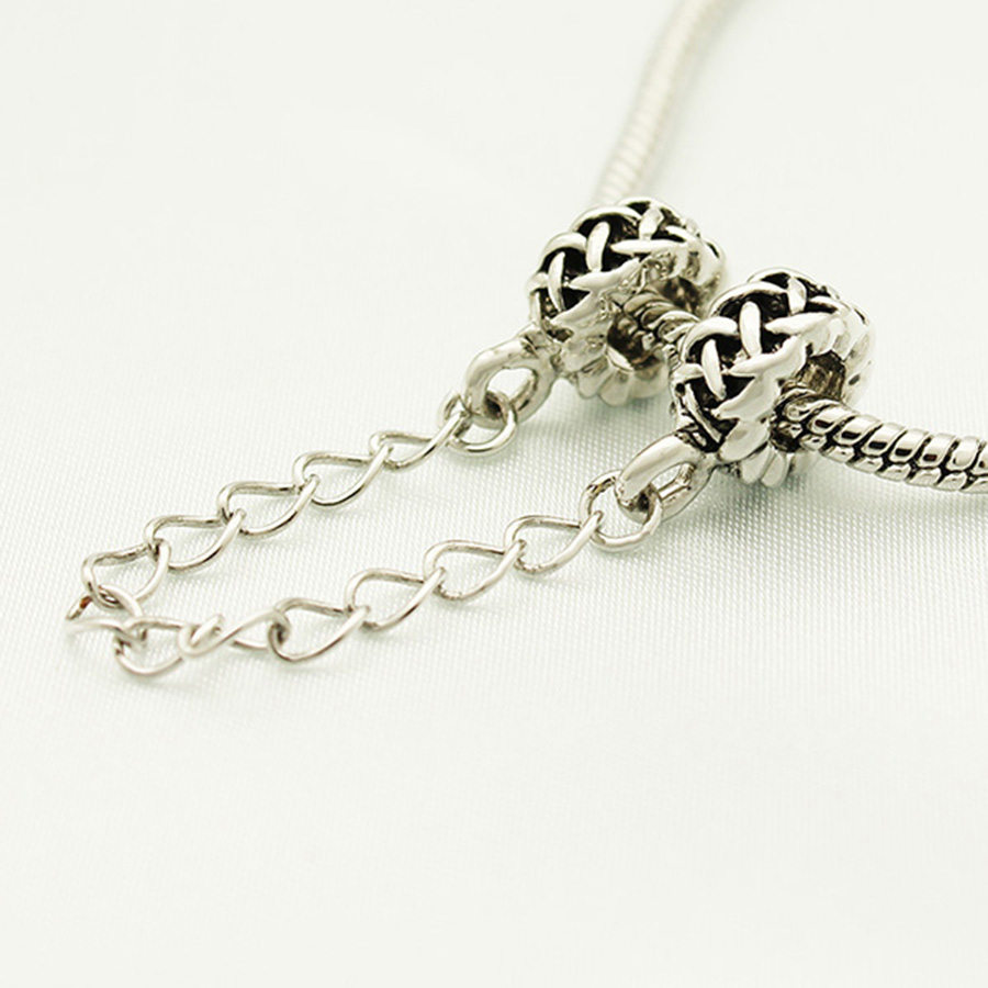 slide charm Free shipping Childrens birthday gift weave pattern X Safety Chain fashion charm beads fit Pandora charm bracelets