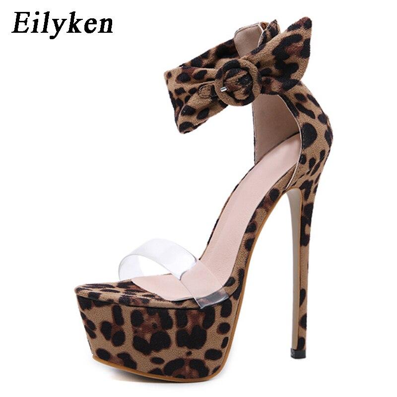 Eilyken 2019 New Design Leopard Women Sandals 17cm high heels Platform Pumps Party Club shoes Woman Sequined Gladiator Sandals