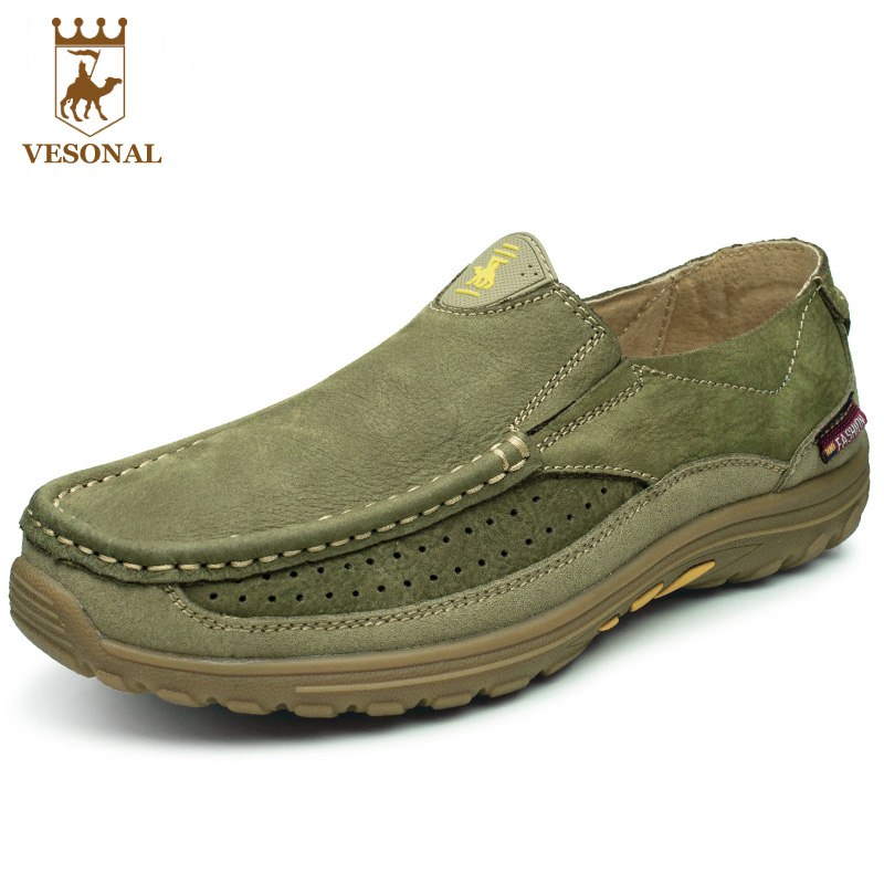 VESONAL Genuine Leather Brand Male Casual Shoes Men Slip ons Footwear Spring Autumn Moccasins Soft Walking For Man Loafers Boat spring autumn men loafers genuine leather casual men shoes fashion driving shoes moccasins flats gommino male footwear rmc 320