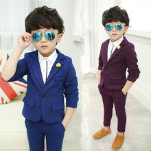 Blue Weddings Kids Suit For Costume Enfant Boys Jacket+Pants 2Pcs KS-1802