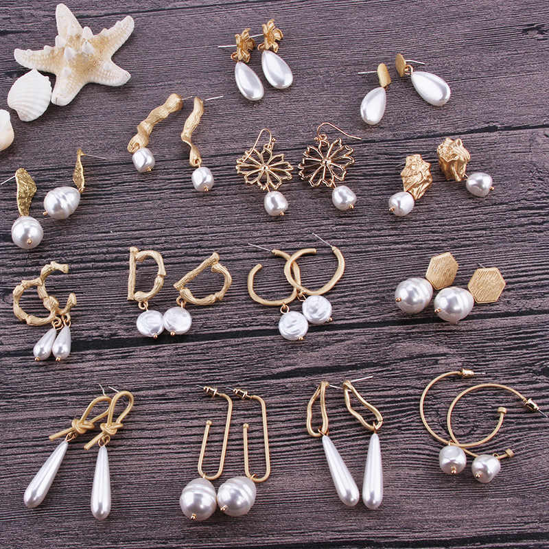 Exknl Vintage Wedding Earrings Women Boho Big Statement Imitation Pearl Dangle Drop Earrings Fashion Jewelry Accessories Gift