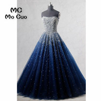 Ball Gown Elegant Prom Dresses Long With Beaded Sweetheart Tulle Navy Blue Dress For Graduation Formal