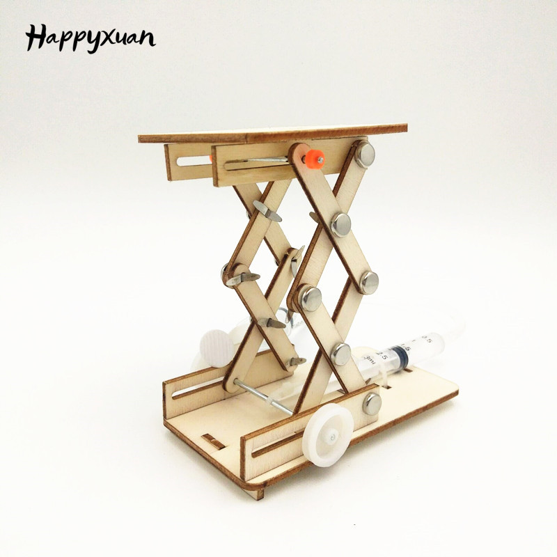 Happyxuan Kids DIY Science Toys Educational Scientific Experiment Kit Hydraulic Lift Table Model Physics School STEM Projects