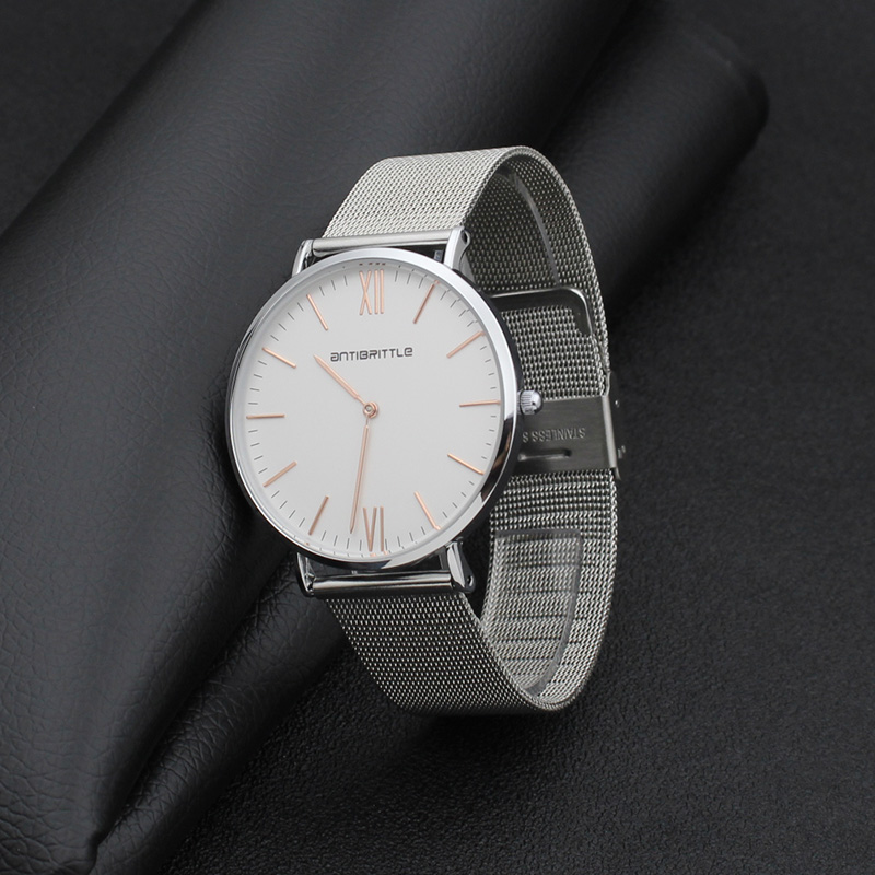 2017 New hot Fashion watch men magnet Stainless Steel mesh Ultrathin Silver Band Quartz Wtach Luxury men Watches Valentine Gift