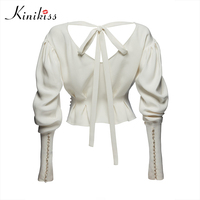 Kinikiss Contrast Beads Blouse Shirt Top White V Neck Long Lantern Sleeve Cansual Lace Up Rivet