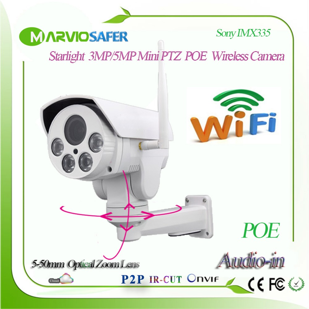 Nouveau H.265 3MP 5MP Full HD sécurité sans fil CCTV réseau POE caméra Onvif Audio Wifi PTZ IP caméra 2.7-13.5mm objectif Sony IMX335
