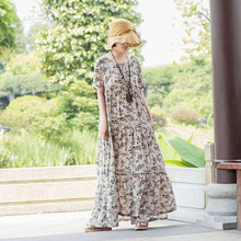 New 2019 Summer fashion Ladies Plus Size floral cotton linen Dress empire dress elegant Long casual longos vestidos