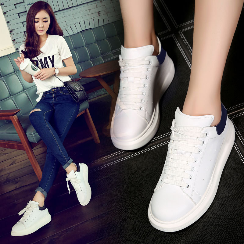 d022c3de525b White shoes 2015 spring color tie thick soled sneakers shoes casual shoes  fashion a muffin Thick bottom casual shoes female