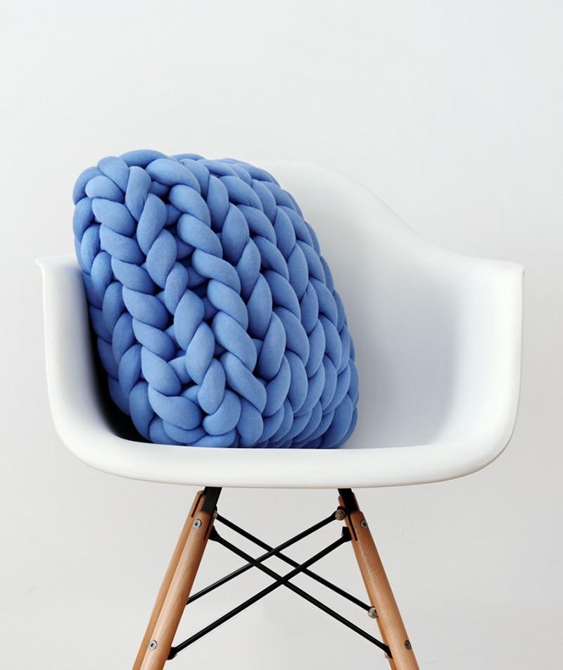 blue braided throw pillow