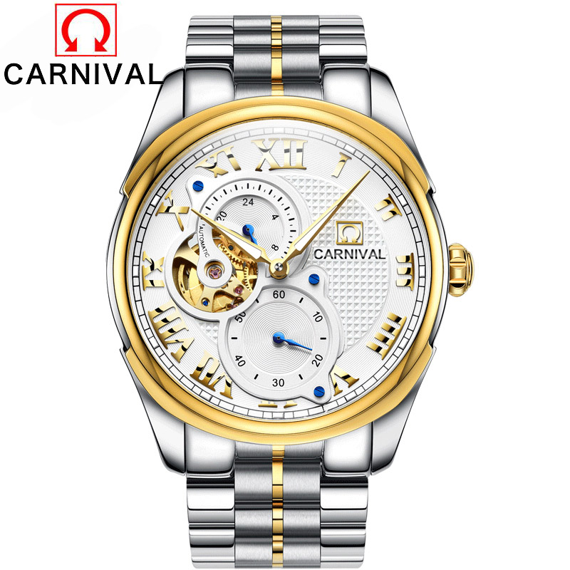 men automatic mechanical watch hollow steel fashion business waterproof male table Tourbillon 2016 Carnival watches Gift choice все цены