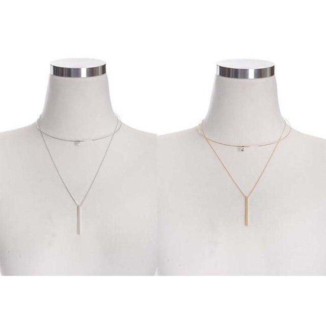 Мода женщин ожерелье 2016 металл двойной длинной цепью ожерелье женский CZ ожерелье модный новые девушки крутящий момент