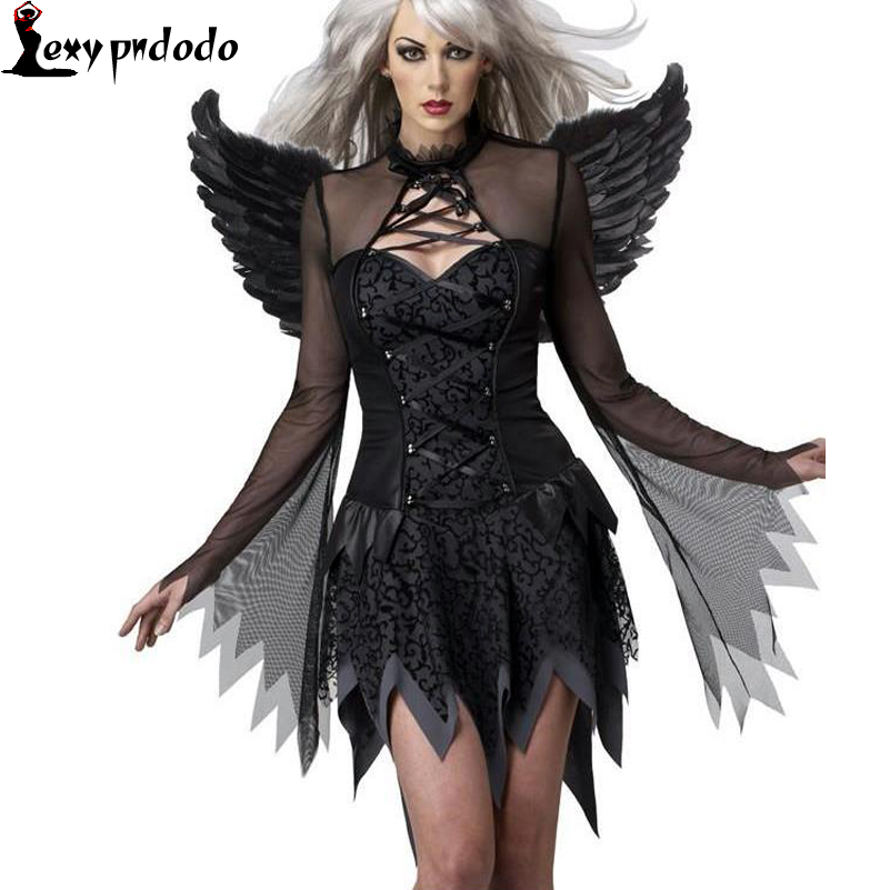 Black Halloween Costumes For Women Party Dress Fantasias feminina Adult Southern Role playing Fallen Angel New All Saints
