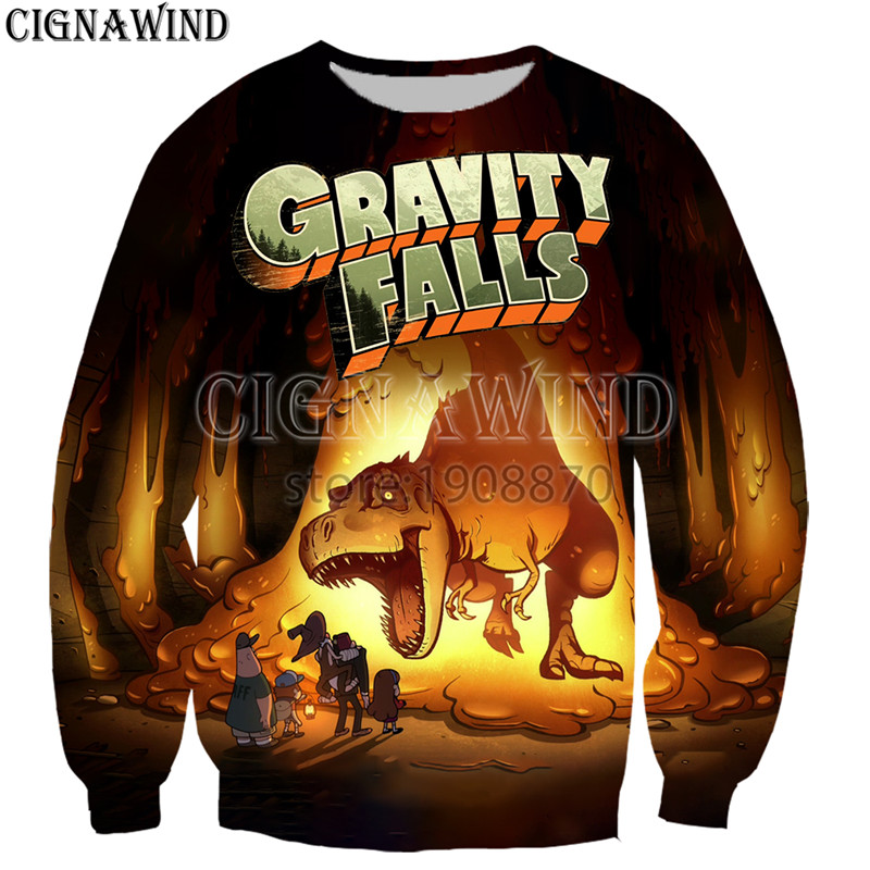 New Arrive Popular Cartoon Gravity Falls Sweatshirt Men Women 3D Print Novelty Harajuku Style Long Sleeve Streetwear Tops