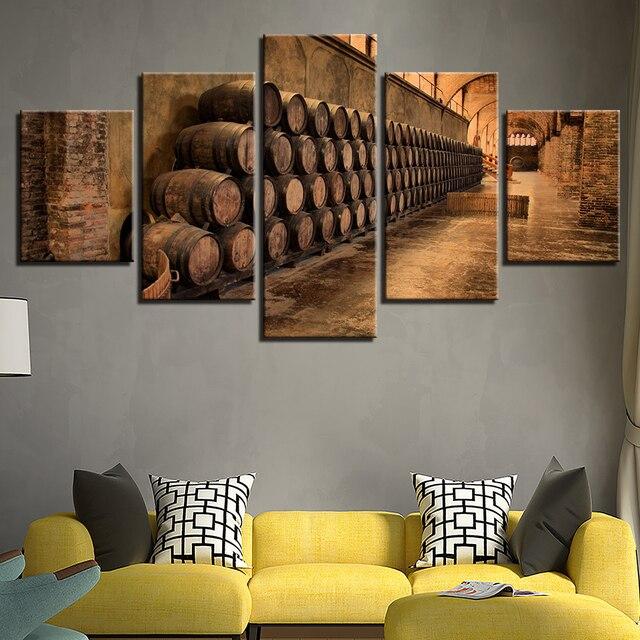 Canvas HD Prints Poster Modern Wall Art Pictures Framework 5 Pieces Wine Cellar Oak Barrels Paintings & Canvas HD Prints Poster Modern Wall Art Pictures Framework 5 Pieces ...