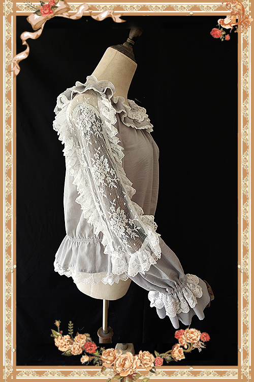 Sheer Long Hollow Out Sleeve Lace Top with Ruffles by Infanta-in Blouses & Shirts from Women's Clothing    3