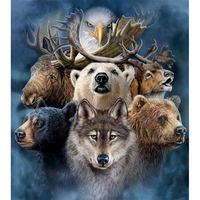 Frameless Bear Deer Wolf Eagle Animals DIY Oil Paintings By Numbers On Canvas Wall Decor Coloring