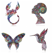 Acrylic Brooch Natural animal Brooches sculpture butterfly bird  Brooch For Women Best Gift Jewelry Accessories