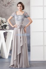free shipping 2014 new design hot seller custom size/color beading chiffon evening gown cap short sleeve plus size dress