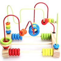 2018 Hot Selling Children Educstional Math Toys Wire Maze Roller Coaster Wooden Counting Circles Bead Abacus