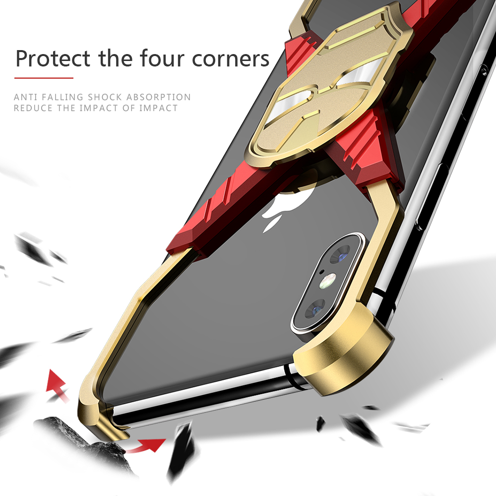 OATSBASF Iron Man Metal Case X Shape design case For iPhone X XS Case Shockproof Mobile Phone Case For iPhone XS MAX in Phone Bumpers from Cellphones Telecommunications