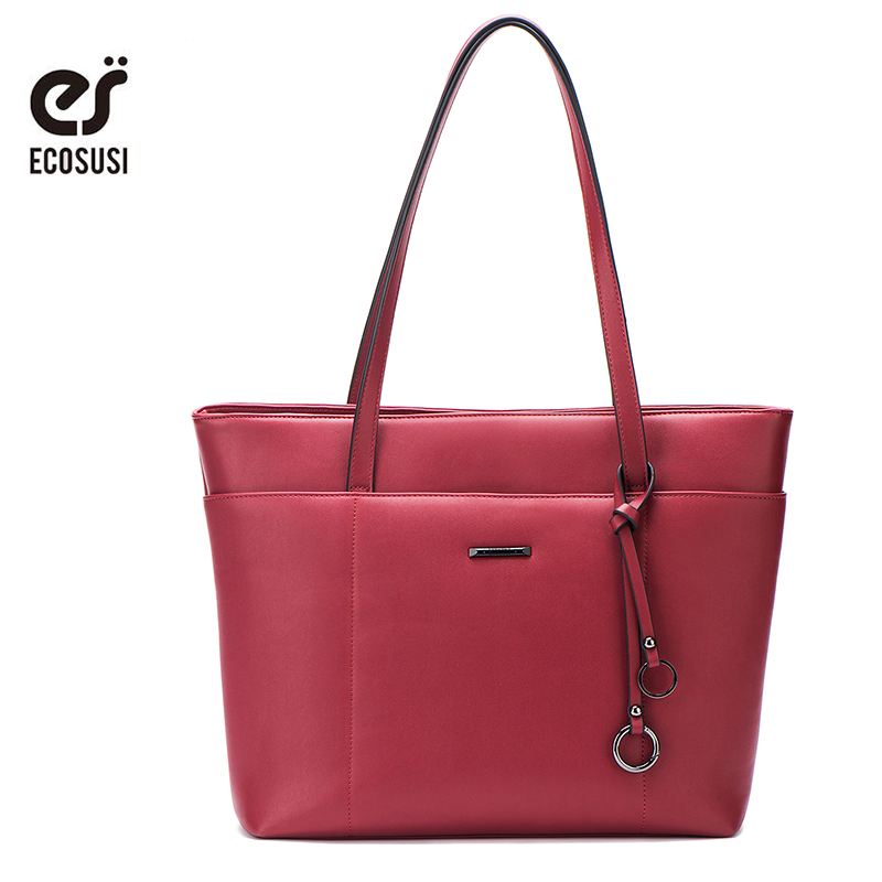 ECOSUSI Nuevo Casual Tote Bags Mujer PU Bolsos de cuero Bolsos de mensajero de las mujeres con borla Crossbody Bolsas Mujer