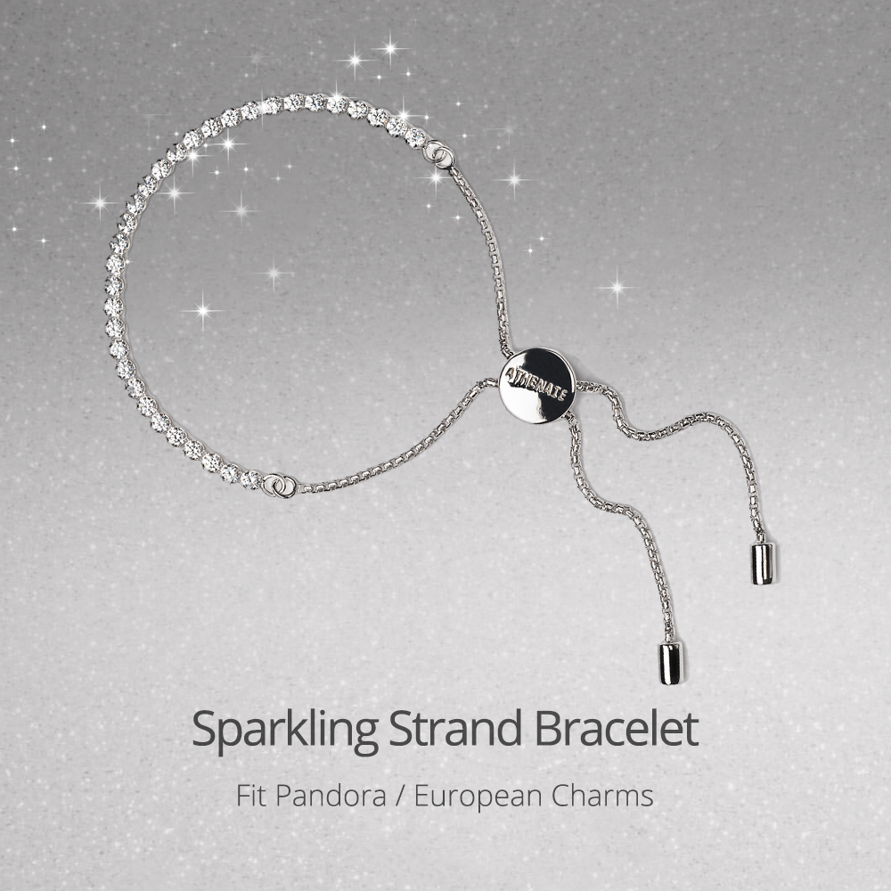 ATHENAIE 925 Sterling Silver Clear CZ Sparkling Strand Bracelet Length 23cm(9inch) Women Link Charm Bracelet DIY Jewelry Gift-in Chain & Link Bracelets from Jewelry & Accessories    2