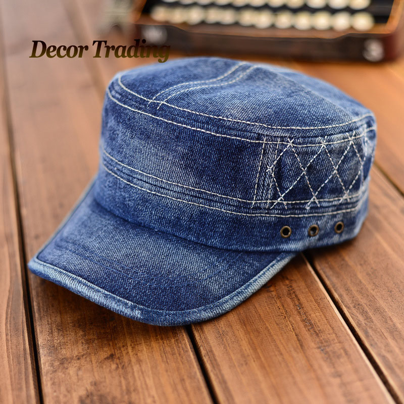 Aliexpress.com  Buy Stylish 2015 Fashion Flat Top Jeans Military Hat For Men Women Cadet Patrol ...