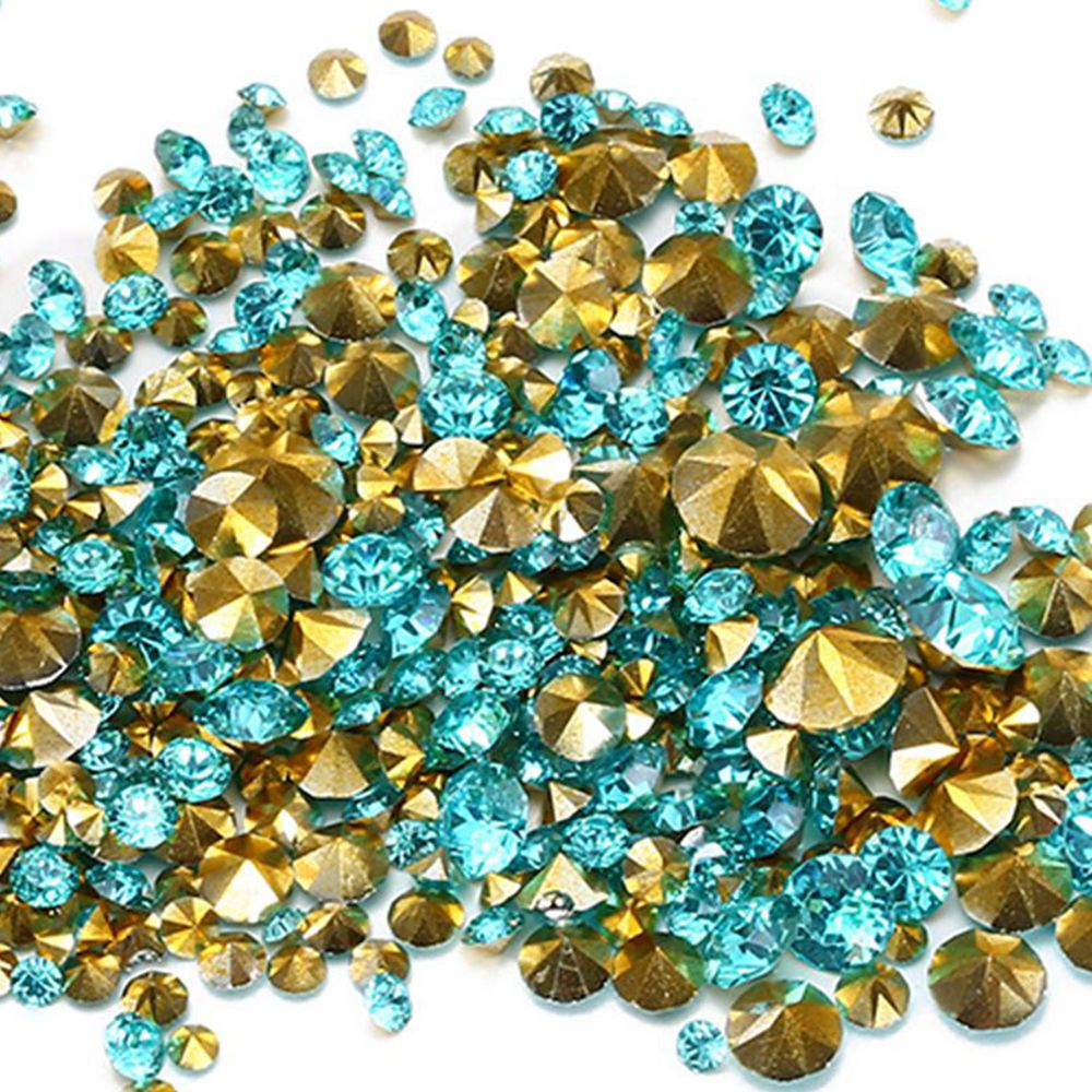 Wholesale Aquamarine Color Resin Rhinestones PointBack Glue On Beads 2-8mm Diamond Nail Art Wedding Dress Decoration DIY