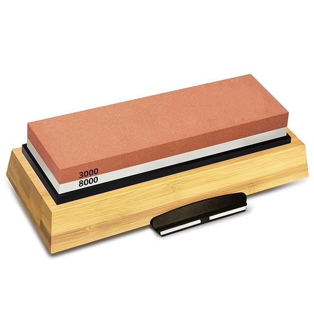 عرض ساخن حجر شحذ 3000 & 8000 حصى طقم حجر المشحذ مزدوج الجوانب للسكاكين مع قاعدة خيزران غير قابلة للانزلاق وزاوية مجانية
