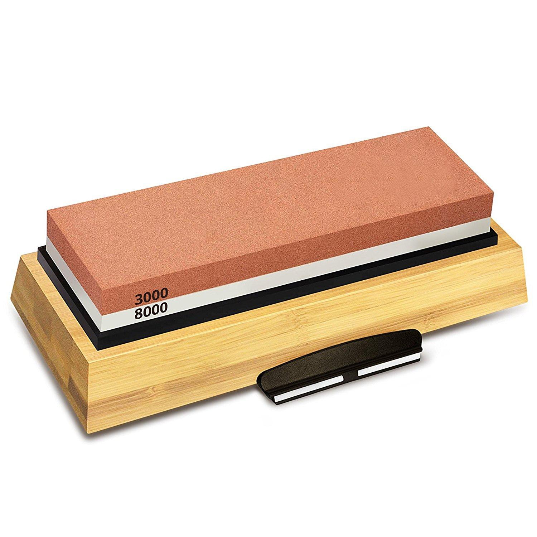 Venda quente pedra de afiar 3000 & 8000 grit-conjunto de pedra de amolar dupla face para facas com base de bambu antiderrapante e ângulo livre gu