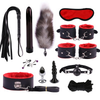 12pcs Sex Toys for Women Men Handcuffs Nipple Clamps Whip Spanking Sex Silicone Metal Feather Anal Plug Butt Bdsm Vibrator
